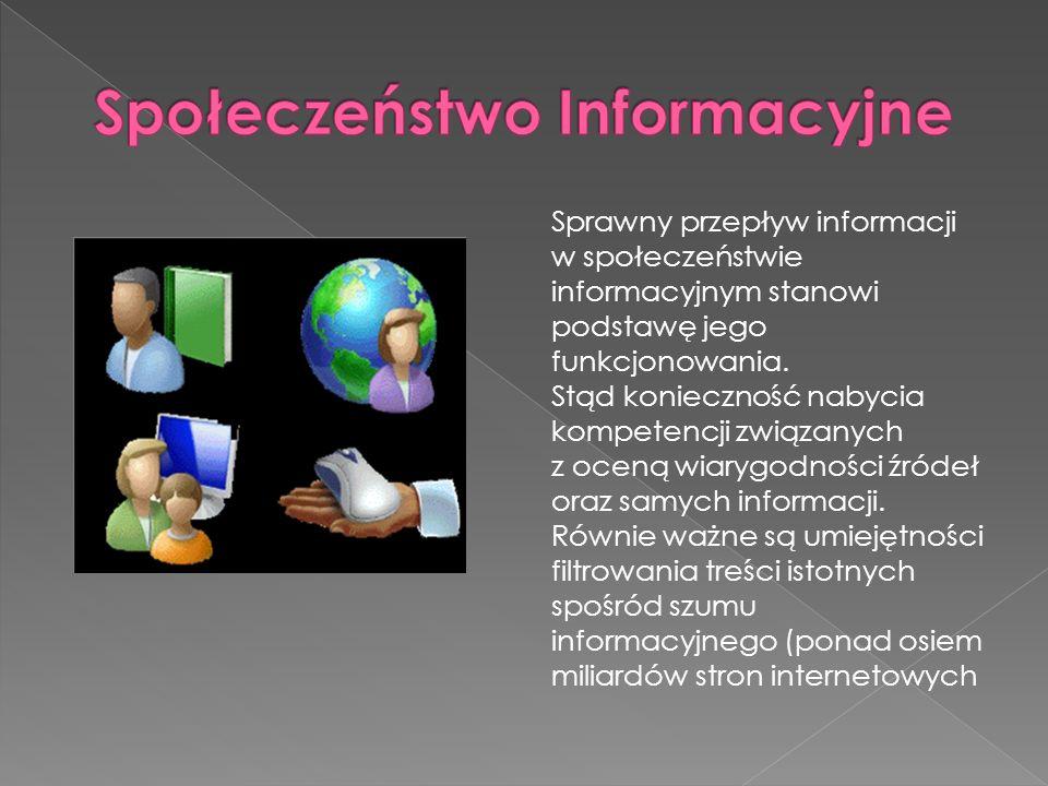 Sprawny przepływ informacji w społeczeństwie informacyjnym stanowi podstawę jego funkcjonowania. Stąd konieczność nabycia kompetencji związanych z oce