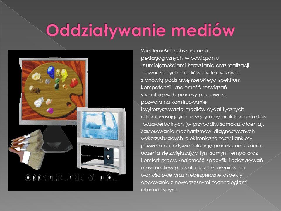 Wiadomości z obszaru nauk pedagogicznych w powiązaniu z umiejętnościami korzystania oraz realizacji nowoczesnych mediów dydaktycznych, stanowią podsta