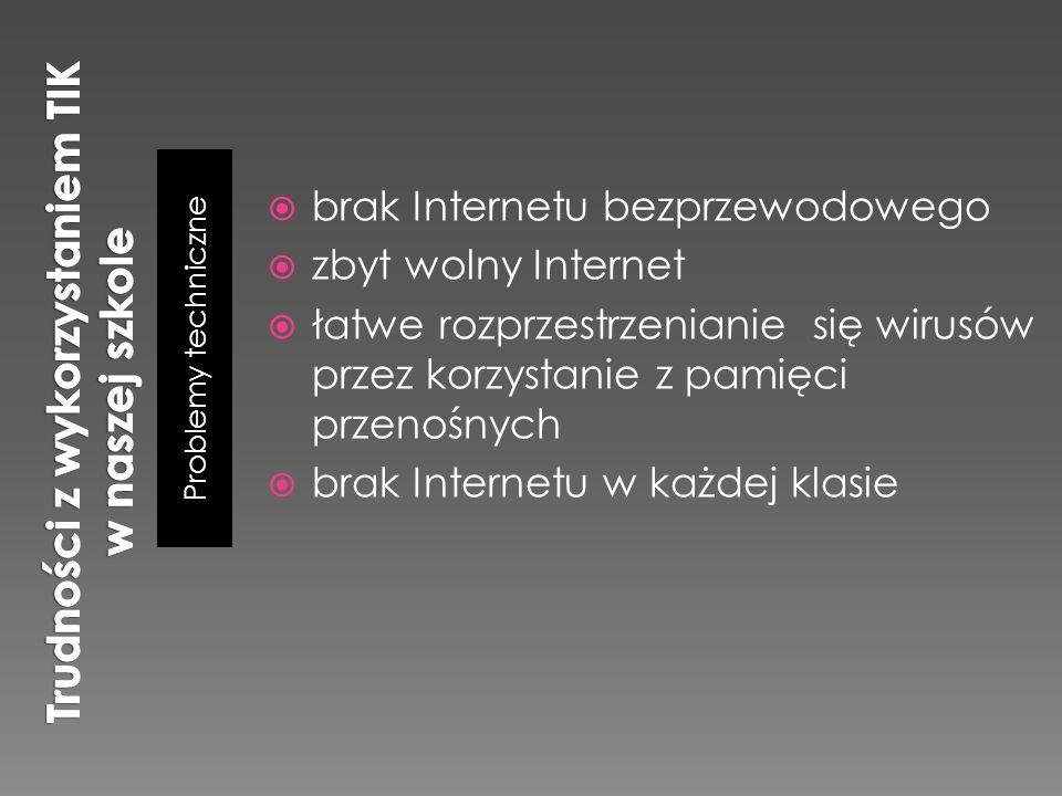 Problemy techniczne  brak Internetu bezprzewodowego  zbyt wolny Internet  łatwe rozprzestrzenianie się wirusów przez korzystanie z pamięci przenośn
