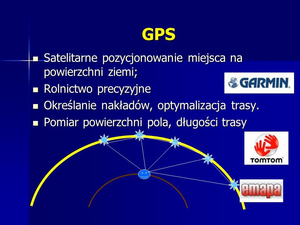 GPS Satelitarne pozycjonowanie miejsca na powierzchni ziemi; Satelitarne pozycjonowanie miejsca na powierzchni ziemi; Rolnictwo precyzyjne Rolnictwo precyzyjne Określanie nakładów, optymalizacja trasy.