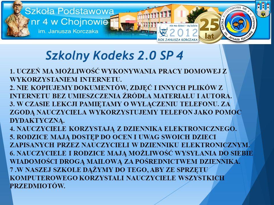 Szkolny Kodeks 2.0 SP 4 1. UCZEŃ MA MOŻLIWOŚĆ WYKONYWANIA PRACY DOMOWEJ Z WYKORZYSTANIEM INTERNETU.