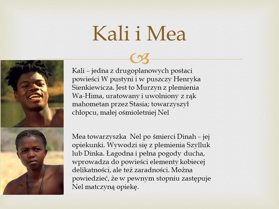  Kali i Mea Kali – jedna z drugoplanowych postaci powieści W pustyni i w puszczy Henryka Sienkiewicza.