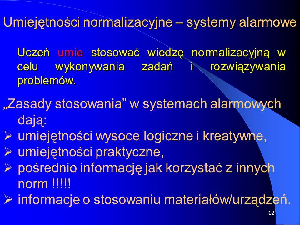 """12 Umiejętności normalizacyjne – systemy alarmowe """"Zasady stosowania w systemach alarmowych dają:   umiejętności wysoce logiczne i kreatywne,   umiejętności praktyczne,   pośrednio informację jak korzystać z innych norm !!!!."""