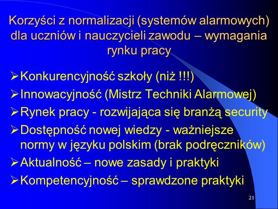 21 Korzyści z normalizacji (systemów alarmowych) dla uczniów i nauczycieli zawodu – wymagania rynku pracy  Konkurencyjność szkoły (niż !!!)  Innowacyjność (Mistrz Techniki Alarmowej)  Rynek pracy - rozwijająca się branżą security  Dostępność nowej wiedzy - ważniejsze normy w języku polskim (brak podręczników)  Aktualność – nowe zasady i praktyki  Kompetencyjność – sprawdzone praktyki