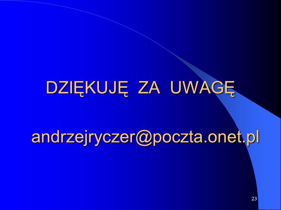 23 DZIĘKUJĘ ZA UWAGĘ andrzejryczer@poczta.onet.pl andrzejryczer@poczta.onet.pl