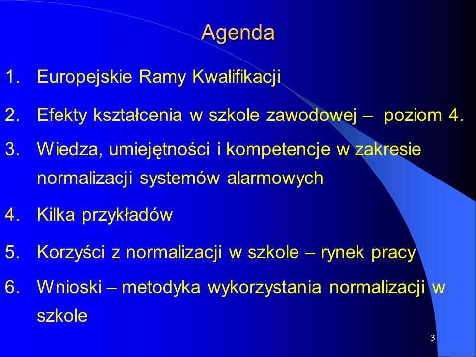 3 Agenda 1.Europejskie Ramy Kwalifikacji 2.Efekty kształcenia w szkole zawodowej – poziom 4.