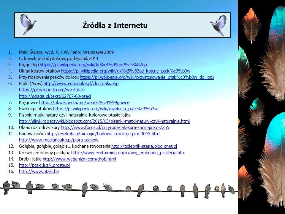 1.Ptaki Świata, wyd. P.H.W. Fenix, Warszawa 2009 2.Człowiek wśród ptaków, podręcznik 2011 3.Kręgosłup https://pl.wikipedia.org/wiki/kr%c4%99gos%c5%82u