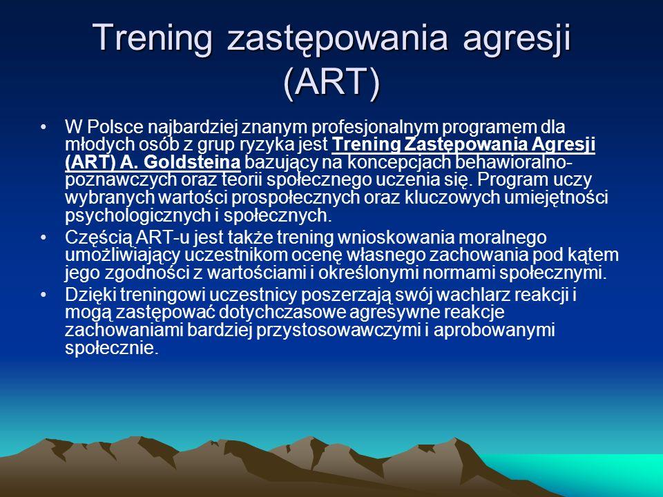 Trening zastępowania agresji (ART) W Polsce najbardziej znanym profesjonalnym programem dla młodych osób z grup ryzyka jest Trening Zastępowania Agresji (ART) A.