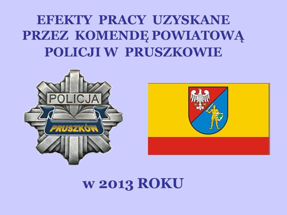 EFEKTY PRACY UZYSKANE PRZEZ KOMENDĘ POWIATOWĄ POLICJI W PRUSZKOWIE w 2013 ROKU