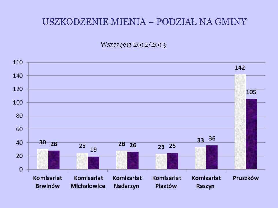 USZKODZENIE MIENIA – PODZIAŁ NA GMINY Wszczęcia 2012/2013