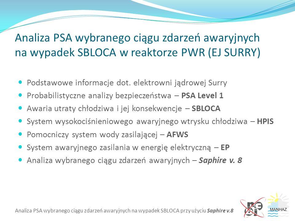 Analiza PSA wybranego ciągu zdarzeń awaryjnych na wypadek SBLOCA przy użyciu Saphire v.8 Analiza PSA wybranego ciągu zdarzeń awaryjnych na wypadek SBLOCA w reaktorze PWR (EJ SURRY) Podstawowe informacje dot.