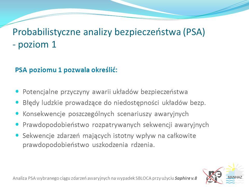 Analiza PSA wybranego ciągu zdarzeń awaryjnych na wypadek SBLOCA przy użyciu Saphire v.8 Probabilistyczne analizy bezpieczeństwa (PSA) - poziom 1 PSA poziomu 1 pozwala określić: Potencjalne przyczyny awarii układów bezpieczeństwa Błędy ludzkie prowadzące do niedostępności układów bezp.