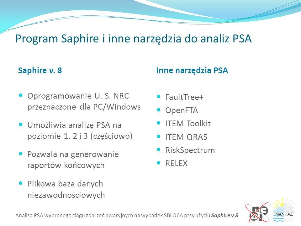 Analiza PSA wybranego ciągu zdarzeń awaryjnych na wypadek SBLOCA przy użyciu Saphire v.8 Program Saphire i inne narzędzia do analiz PSA Saphire v. 8 O