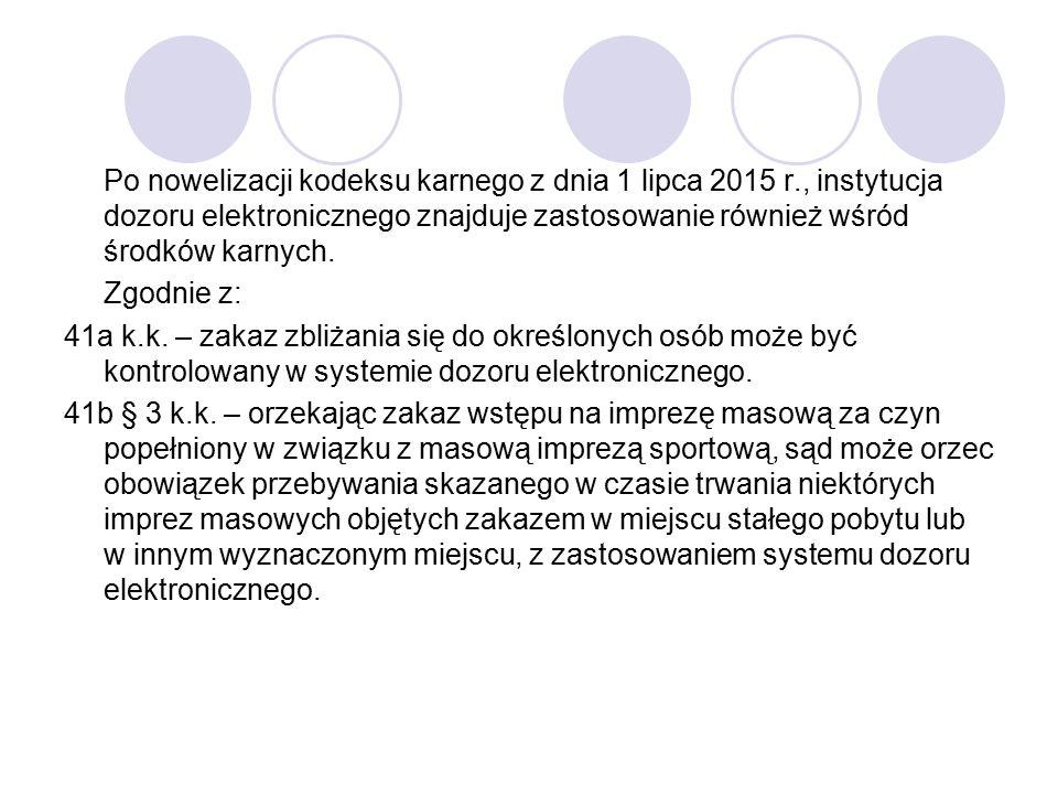 Po nowelizacji kodeksu karnego z dnia 1 lipca 2015 r., instytucja dozoru elektronicznego znajduje zastosowanie również wśród środków karnych. Zgodnie