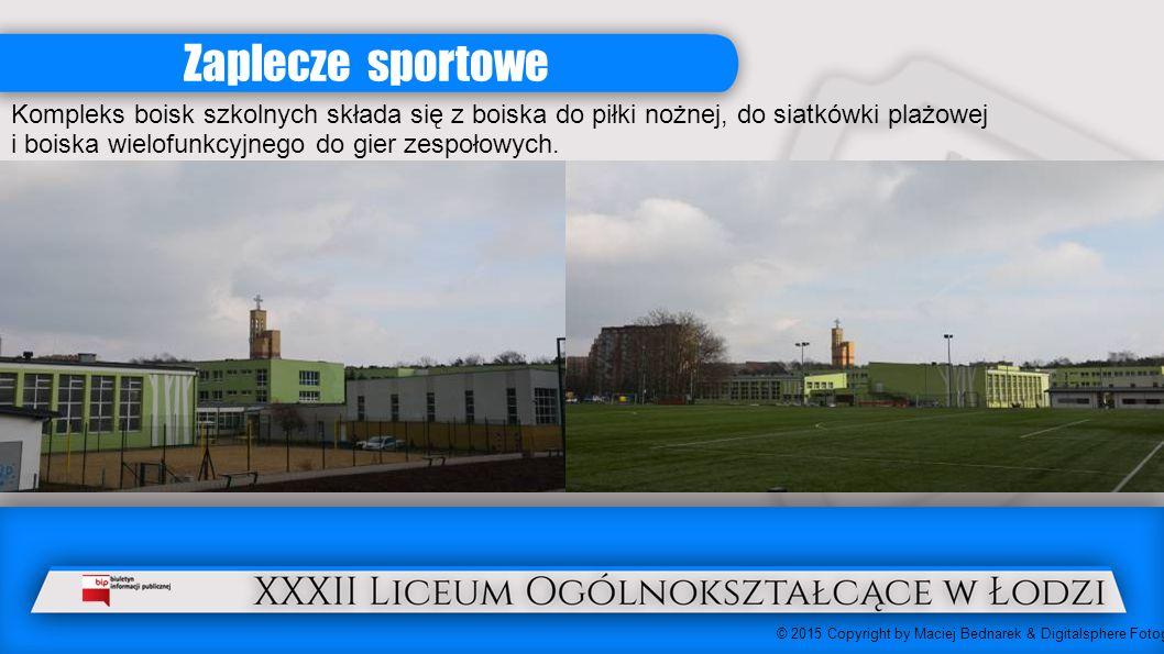 Zaplecze sportowe Kompleks boisk szkolnych składa się z boiska do piłki nożnej, do siatkówki plażowej i boiska wielofunkcyjnego do gier zespołowych.