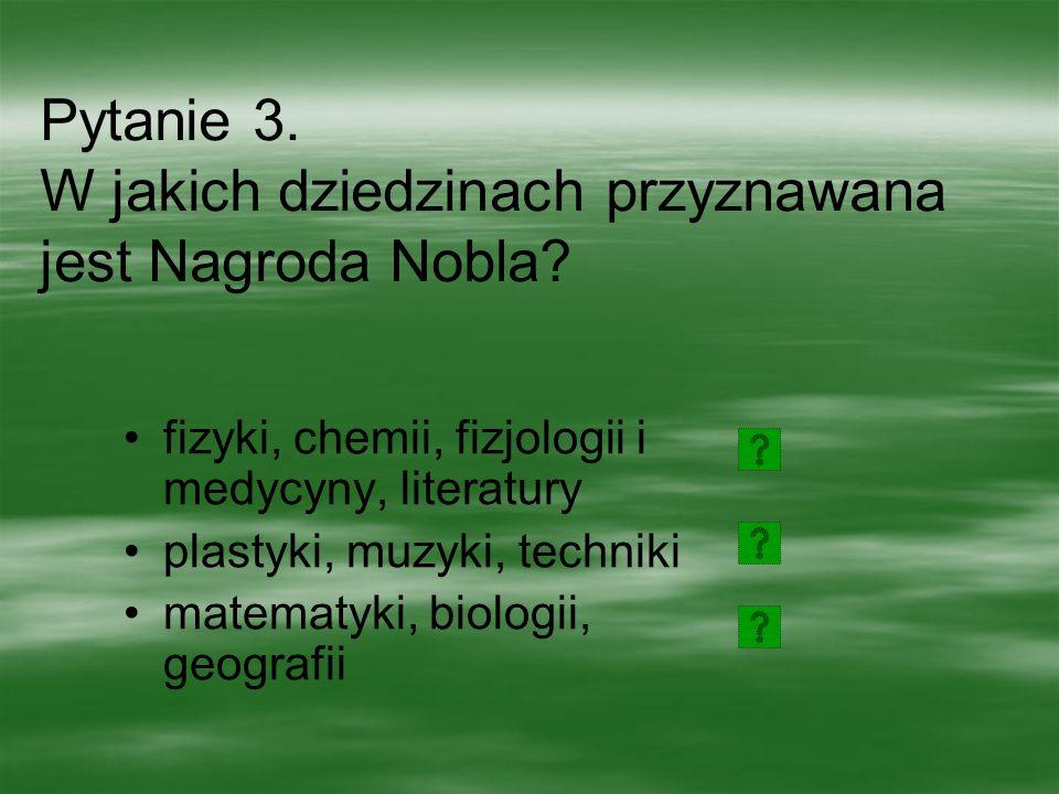 Pytanie 2. Co wynalazł Alfred Nobel? dynamit telefon żarówkę