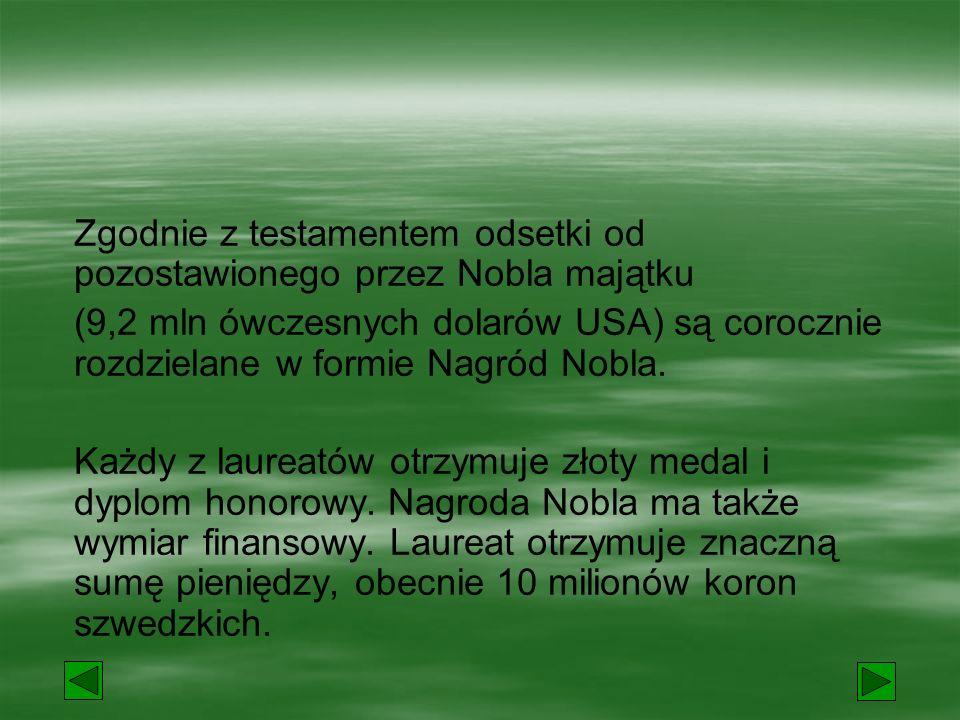 Pytanie 1. Jakiej narodowości był Alfred Nobel? szwedzkiej polskiej norweskiej