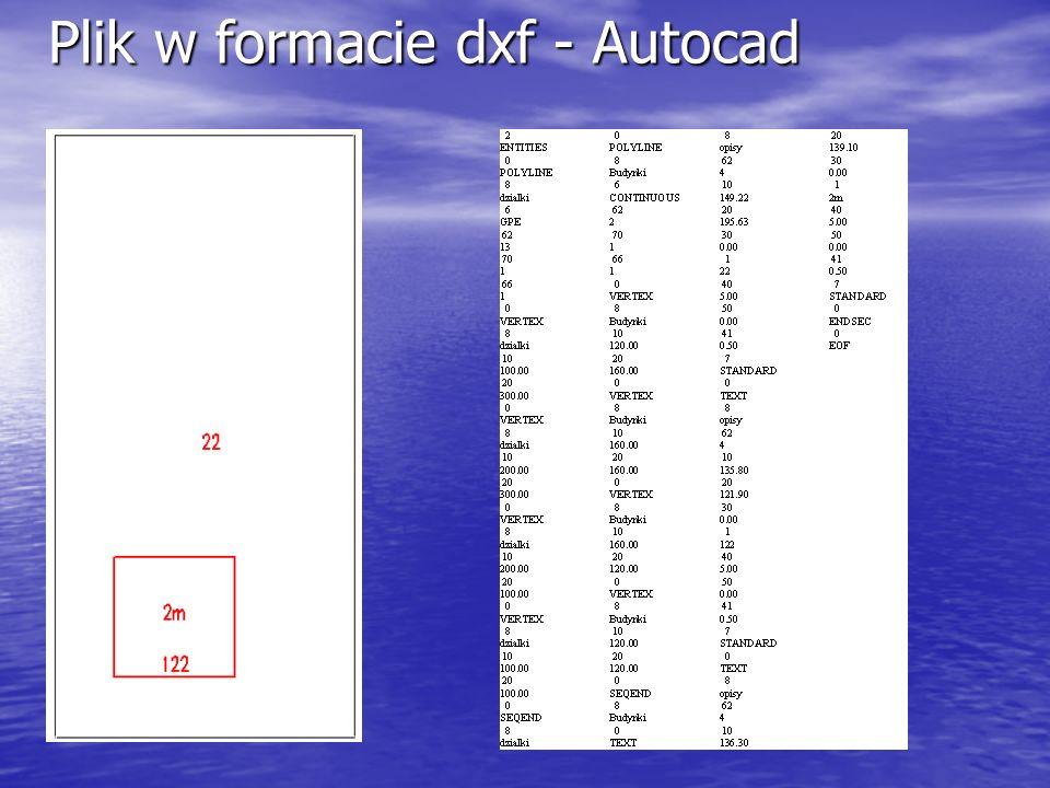 Plik w formacie dxf - Autocad