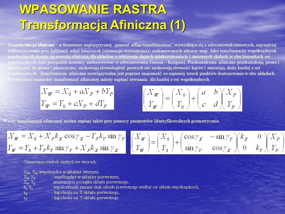 """WPASOWANIE RASTRA Transformacja Afiniczna (1) Transformacja afiniczna – w literaturze anglojęzycznej """"general affine transformation wywodząca się z odwzorowań rzutowych, najczęściej wykorzystywana przy kalibracji zdjęć lotniczych (orientacja wewnętrzna) i zeskanowanych arkuszy map."""