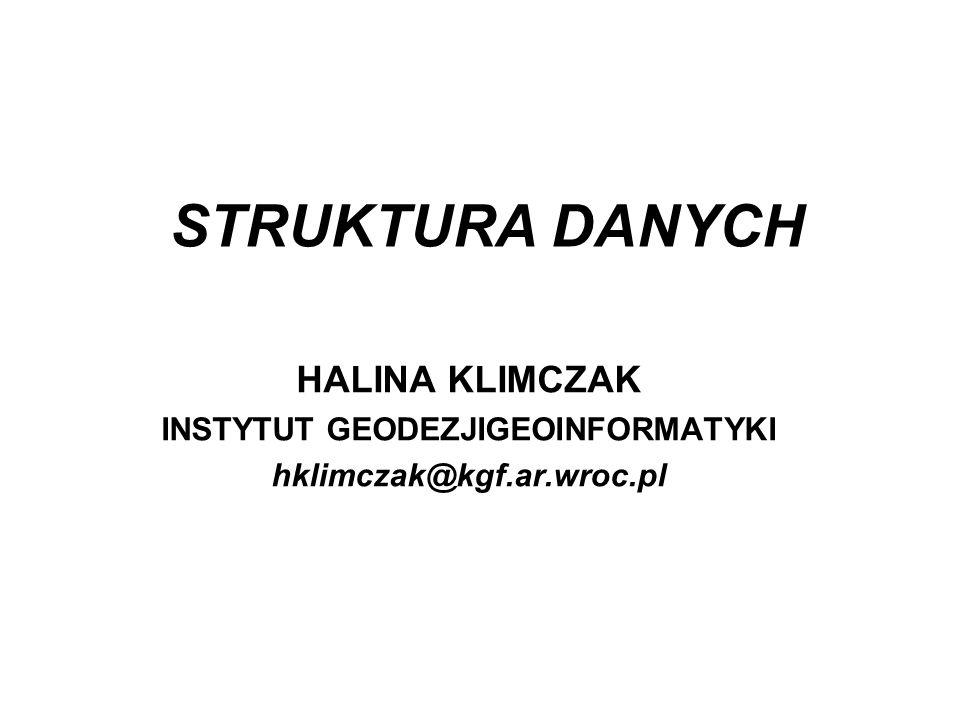 STRUKTURA DANYCH HALINA KLIMCZAK INSTYTUT GEODEZJIGEOINFORMATYKI hklimczak@kgf.ar.wroc.pl