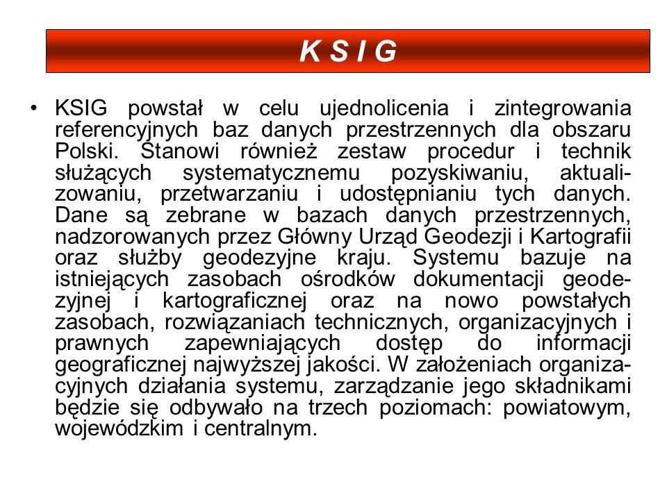 KSIG powstał w celu ujednolicenia i zintegrowania referencyjnych baz danych przestrzennych dla obszaru Polski. Stanowi również zestaw procedur i techn