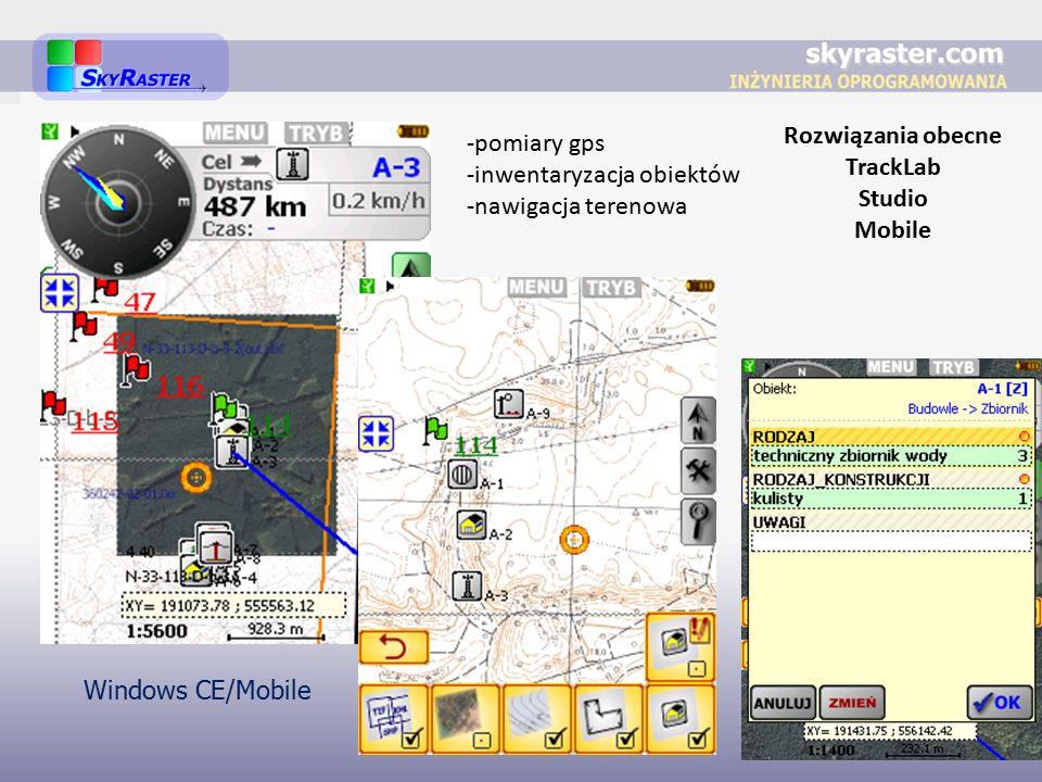 Rozwiązania obecne TrackLab Studio Mobile -pomiary gps -inwentaryzacja obiektów -nawigacja terenowa Windows CE/Mobile