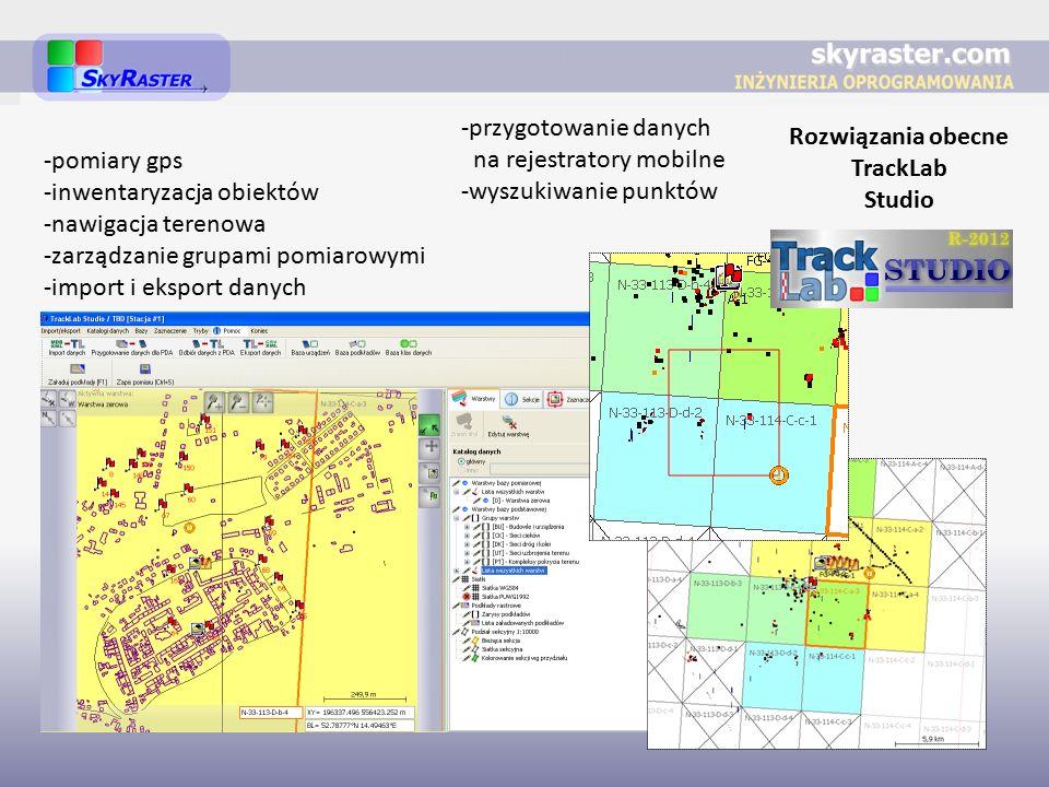 Rozwiązania obecne TrackLab Studio -pomiary gps -inwentaryzacja obiektów -nawigacja terenowa -zarządzanie grupami pomiarowymi -import i eksport danych -przygotowanie danych na rejestratory mobilne -wyszukiwanie punktów