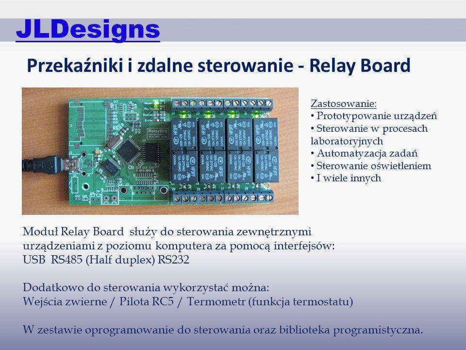 JLDesigns Przekaźniki i zdalne sterowanie - Relay Board Moduł Relay Board służy do sterowania zewnętrznymi urządzeniami z poziomu komputera za pomocą interfejsów: USB RS485 (Half duplex) RS232 Dodatkowo do sterowania wykorzystać można: Wejścia zwierne / Pilota RC5 / Termometr (funkcja termostatu) W zestawie oprogramowanie do sterowania oraz biblioteka programistyczna.