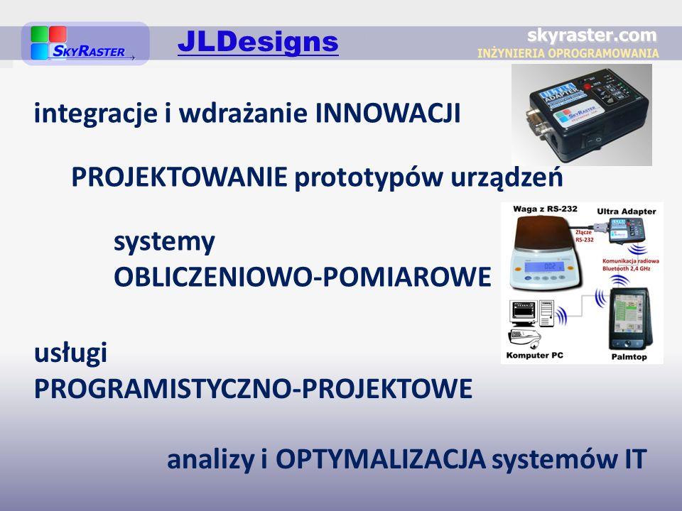 PROJEKTOWANIE prototypów urządzeń usługi PROGRAMISTYCZNO-PROJEKTOWE integracje i wdrażanie INNOWACJI analizy i OPTYMALIZACJA systemów IT systemy OBLICZENIOWO-POMIAROWE JLDesigns
