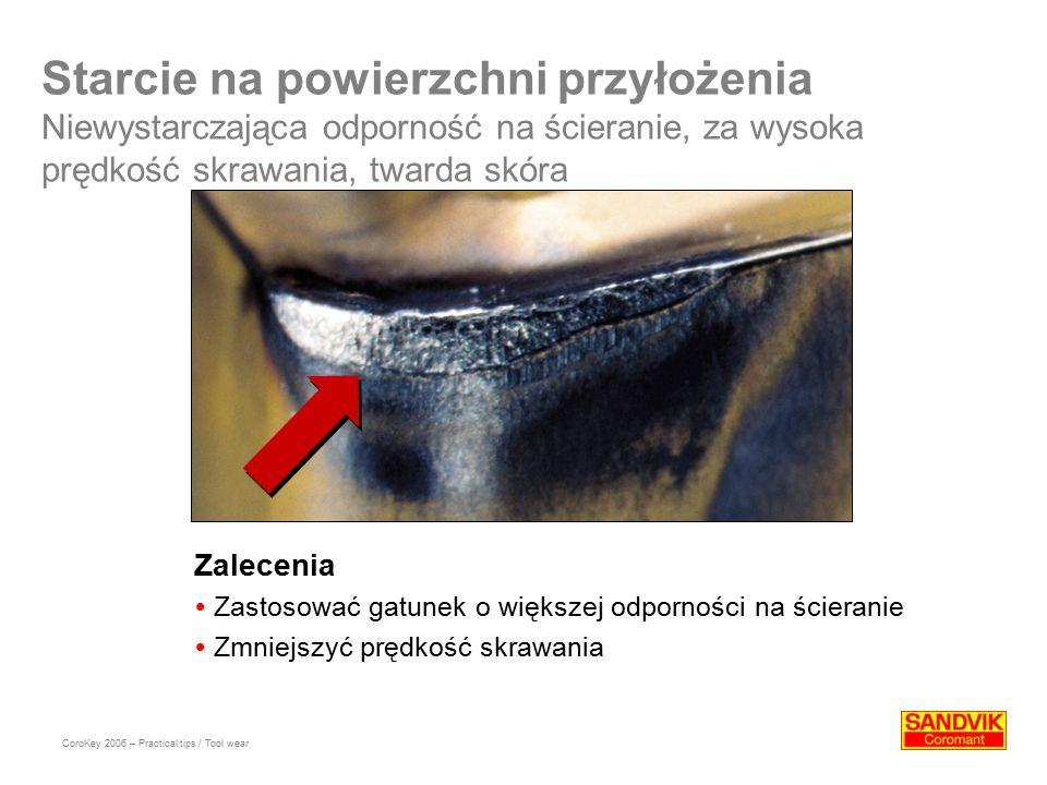 Starcie na powierzchni przyłożenia Niewystarczająca odporność na ścieranie, za wysoka prędkość skrawania, twarda skóra Zalecenia  Zastosować gatunek o większej odporności na ścieranie  Zmniejszyć prędkość skrawania CoroKey 2006 – Practical tips / Tool wear