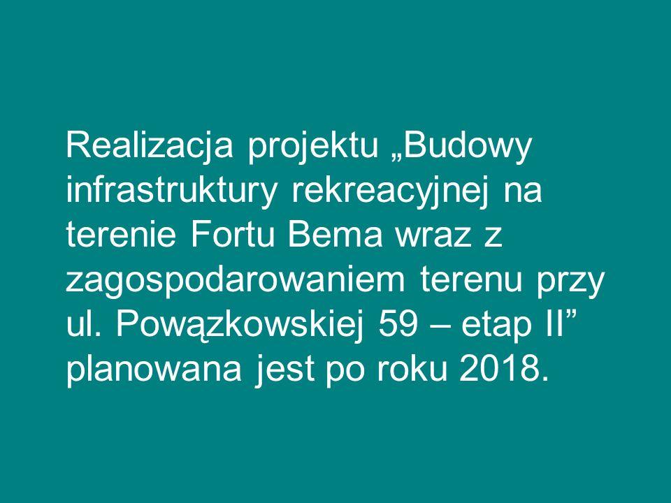 """Realizacja projektu """"Budowy infrastruktury rekreacyjnej na terenie Fortu Bema wraz z zagospodarowaniem terenu przy ul."""