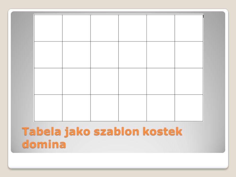 Tabela jako szablon kostek domina