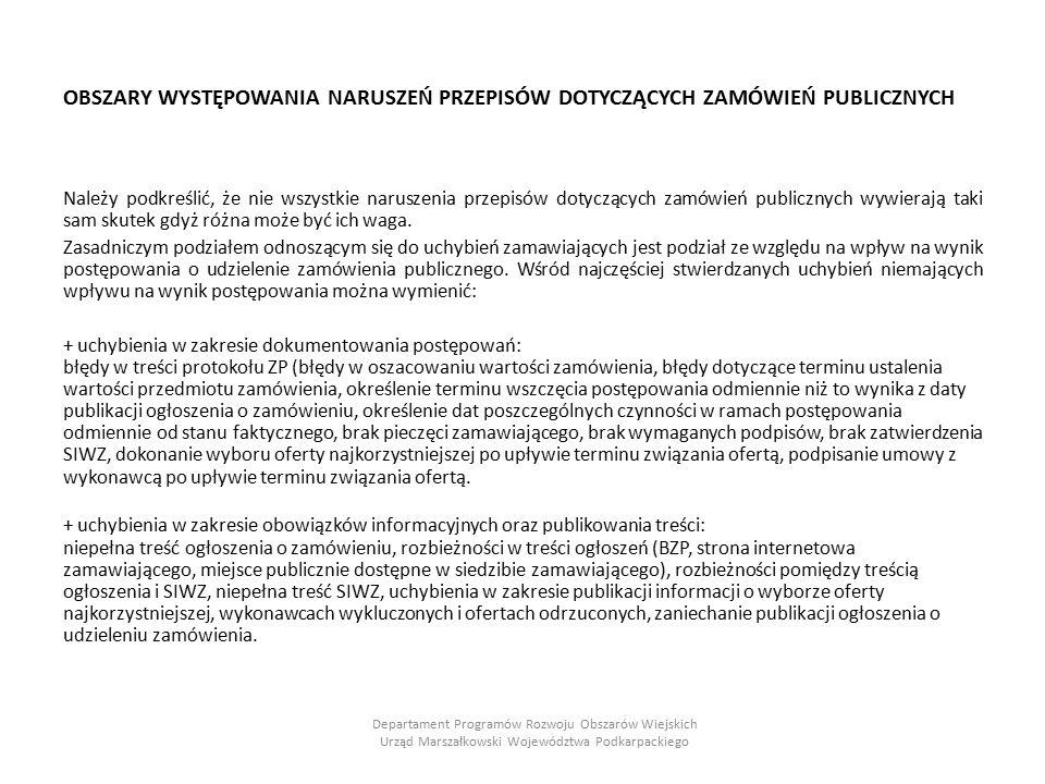 """+ uchybienia w zakresie prawa materialnego (nie aktualne stany prawne, zlikwidowane instytucje) np.: zamieszczanie informacji o protestach przysługujących zamawiającemu, brak wymaganych klauzul umownych – dotyczących podwykonawstwa, - dotyczących zabezpieczenia należytego wykonania umowy, posługiwanie się nieaktualnym """"przelicznikiem Euro, niewniesienie zabezpieczenia należytego wykonania umowy zgodnie z postanowieniami umowy, brak zapisów dotyczących zatrzymania wadium (w przypadku gdy zamawiający wymaga wniesienia wadium), błędne terminy gwarancji wadialnych wnoszonych przez wykonawców, obliczenie wysokości wadium niezgodnie z przepisami ustawy."""