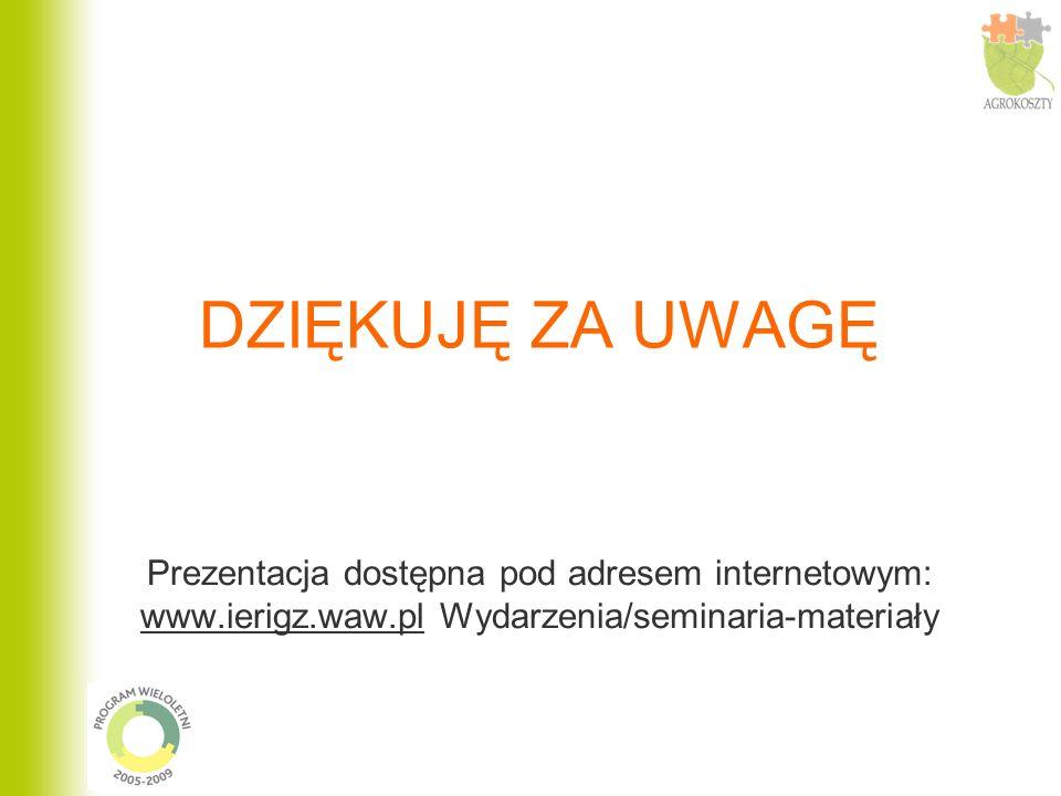 DZIĘKUJĘ ZA UWAGĘ Prezentacja dostępna pod adresem internetowym: www.ierigz.waw.pl Wydarzenia/seminaria-materiały