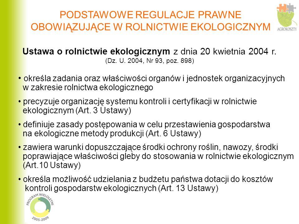 Ustawa o rolnictwie ekologicznym z dnia 20 kwietnia 2004 r. (Dz. U. 2004, Nr 93, poz. 898) określa zadania oraz właściwości organów i jednostek organi
