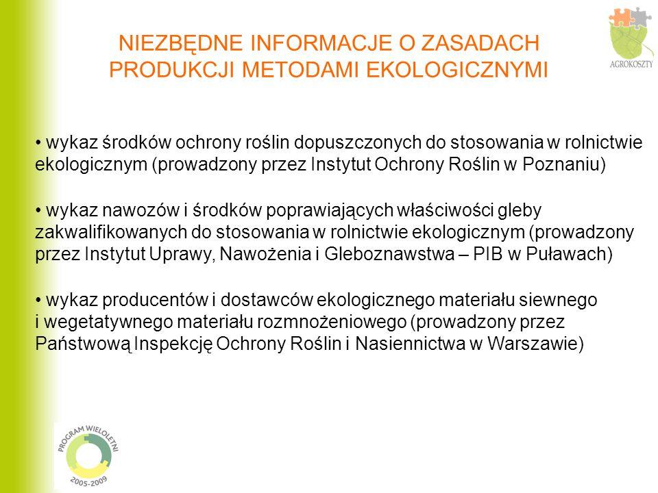wykaz środków ochrony roślin dopuszczonych do stosowania w rolnictwie ekologicznym (prowadzony przez Instytut Ochrony Roślin w Poznaniu) wykaz nawozów