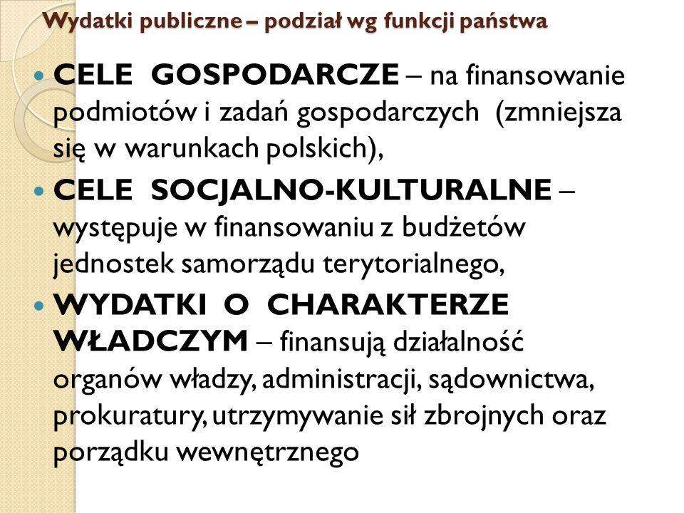 Wydatki publiczne – podział wg funkcji państwa CELE GOSPODARCZE – na finansowanie podmiotów i zadań gospodarczych (zmniejsza się w warunkach polskich), CELE SOCJALNO-KULTURALNE – występuje w finansowaniu z budżetów jednostek samorządu terytorialnego, WYDATKI O CHARAKTERZE WŁADCZYM – finansują działalność organów władzy, administracji, sądownictwa, prokuratury, utrzymywanie sił zbrojnych oraz porządku wewnętrznego