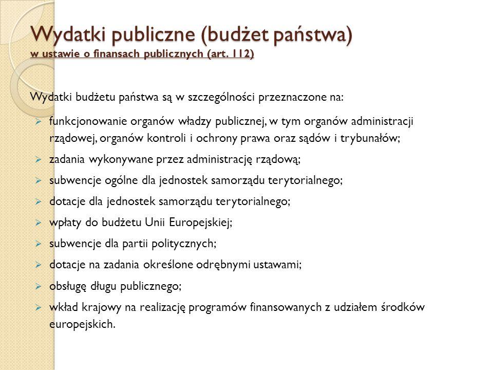 Wydatki publiczne (budżet państwa) w ustawie o finansach publicznych (art.