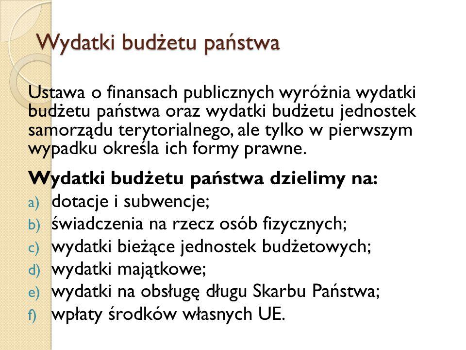 Wydatki budżetu państwa Ustawa o finansach publicznych wyróżnia wydatki budżetu państwa oraz wydatki budżetu jednostek samorządu terytorialnego, ale tylko w pierwszym wypadku określa ich formy prawne.