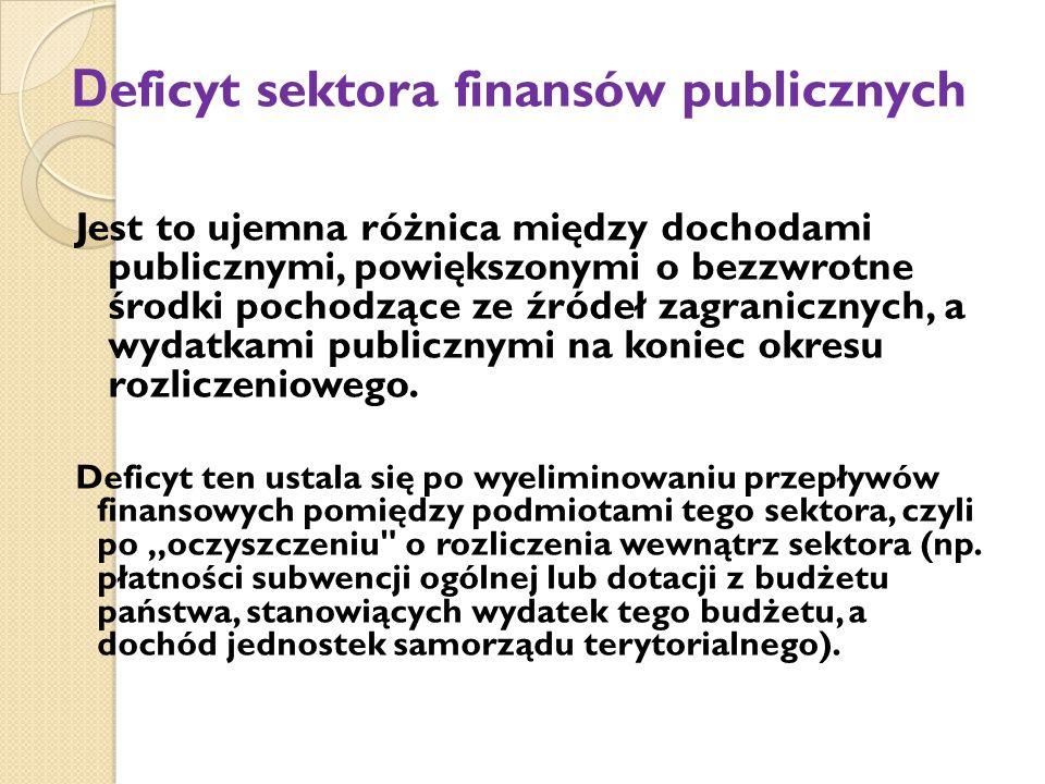 D eficyt sektora finansów publicznych Jest to ujemna różnica między dochodami publicznymi, powiększonymi o bezzwrotne środki pochodzące ze źródeł zagranicznych, a wydatkami publicznymi na koniec okresu rozliczeniowego.