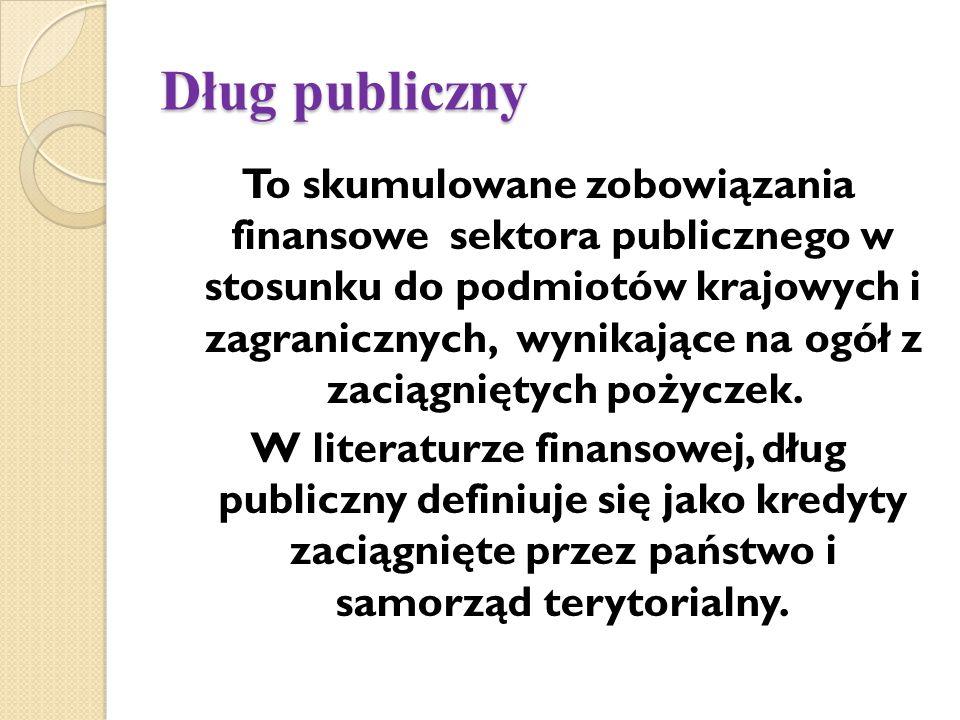 Dług publiczny To skumulowane zobowiązania finansowe sektora publicznego w stosunku do podmiotów krajowych i zagranicznych, wynikające na ogół z zaciągniętych pożyczek.
