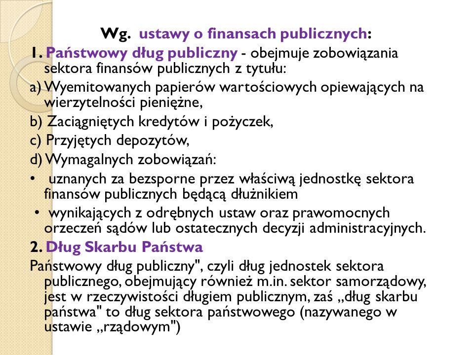 Wg. ustawy o finansach publicznych: 1.