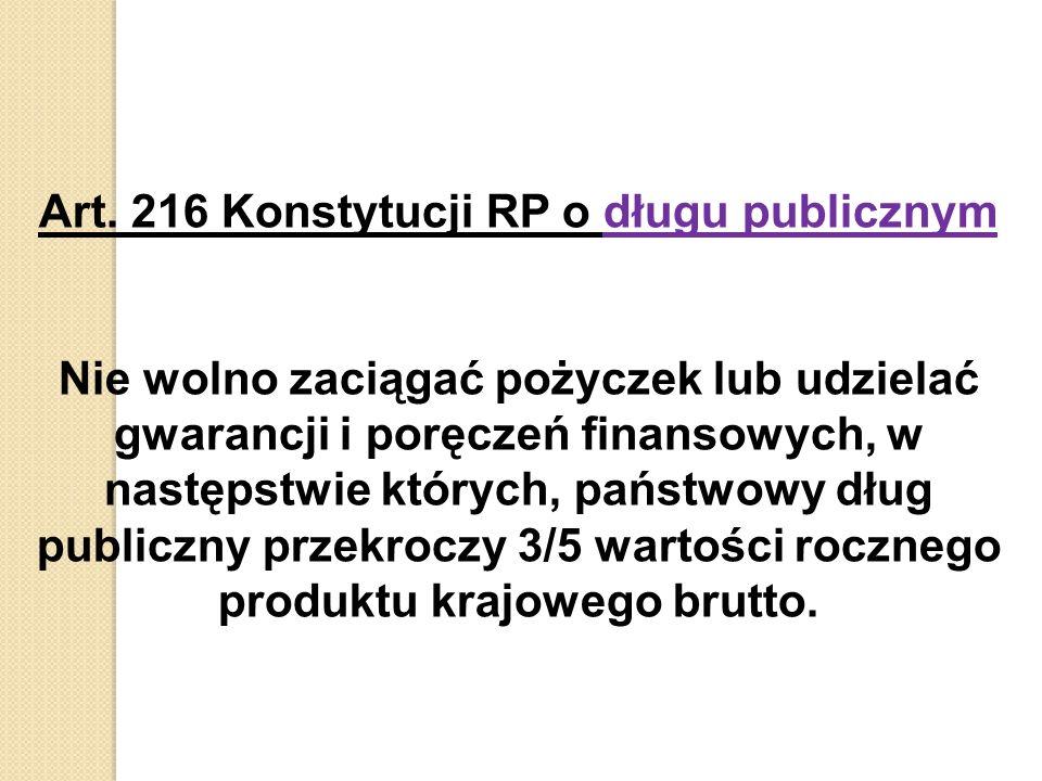 Art. 216 Konstytucji RP o długu publicznym Nie wolno zaciągać pożyczek lub udzielać gwarancji i poręczeń finansowych, w następstwie których, państwowy