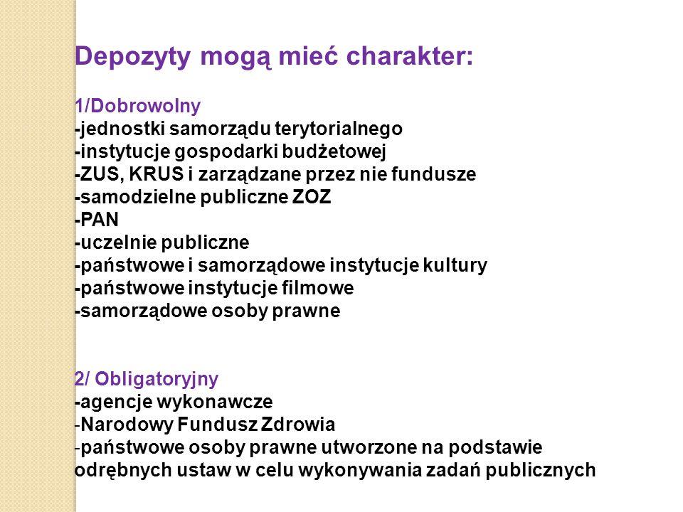 Depozyty mogą mieć charakter: 1/Dobrowolny -jednostki samorządu terytorialnego -instytucje gospodarki budżetowej -ZUS, KRUS i zarządzane przez nie fundusze -samodzielne publiczne ZOZ -PAN -uczelnie publiczne -państwowe i samorządowe instytucje kultury -państwowe instytucje filmowe -samorządowe osoby prawne 2/ Obligatoryjny -agencje wykonawcze -Narodowy Fundusz Zdrowia -państwowe osoby prawne utworzone na podstawie odrębnych ustaw w celu wykonywania zadań publicznych