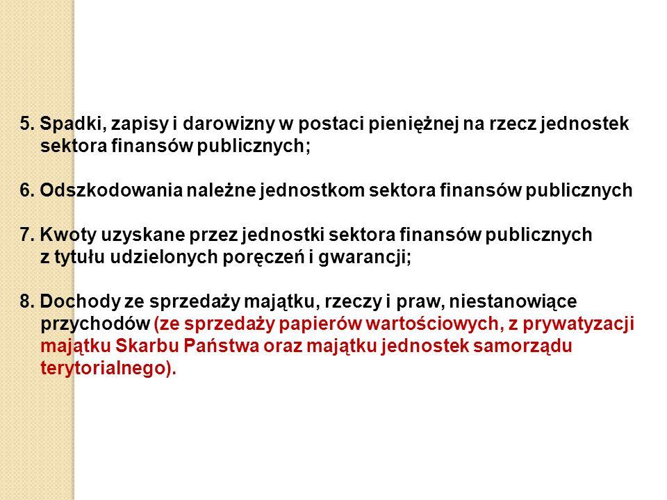 5. Spadki, zapisy i darowizny w postaci pieniężnej na rzecz jednostek sektora finansów publicznych; 6. Odszkodowania należne jednostkom sektora finans