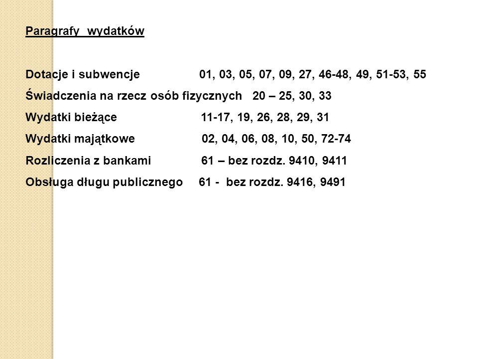 Paragrafy wydatków Dotacje i subwencje 01, 03, 05, 07, 09, 27, 46-48, 49, 51-53, 55 Świadczenia na rzecz osób fizycznych 20 – 25, 30, 33 Wydatki bieżące 11-17, 19, 26, 28, 29, 31 Wydatki majątkowe 02, 04, 06, 08, 10, 50, 72-74 Rozliczenia z bankami 61 – bez rozdz.