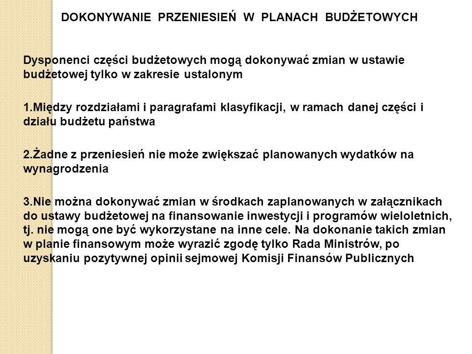 DOKONYWANIE PRZENIESIEŃ W PLANACH BUDŻETOWYCH Dysponenci części budżetowych mogą dokonywać zmian w ustawie budżetowej tylko w zakresie ustalonym 1.Między rozdziałami i paragrafami klasyfikacji, w ramach danej części i działu budżetu państwa 2.Żadne z przeniesień nie może zwiększać planowanych wydatków na wynagrodzenia 3.Nie można dokonywać zmian w środkach zaplanowanych w załącznikach do ustawy budżetowej na finansowanie inwestycji i programów wieloletnich, tj.