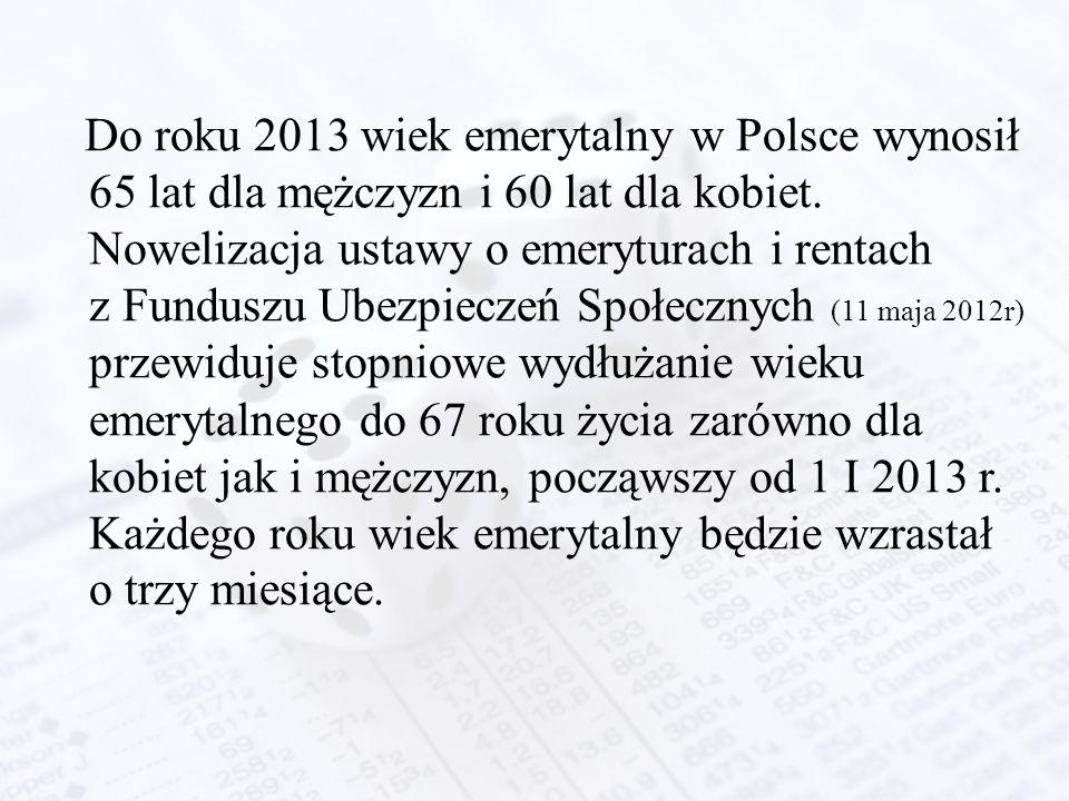 Do roku 2013 wiek emerytalny w Polsce wynosił 65 lat dla mężczyzn i 60 lat dla kobiet. Nowelizacja ustawy o emeryturach i rentach z Funduszu Ubezpiecz