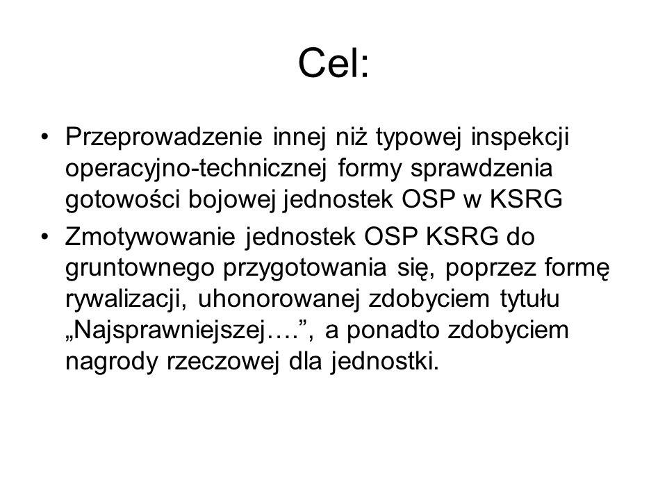 """Cel: Przeprowadzenie innej niż typowej inspekcji operacyjno-technicznej formy sprawdzenia gotowości bojowej jednostek OSP w KSRG Zmotywowanie jednostek OSP KSRG do gruntownego przygotowania się, poprzez formę rywalizacji, uhonorowanej zdobyciem tytułu """"Najsprawniejszej…. , a ponadto zdobyciem nagrody rzeczowej dla jednostki."""