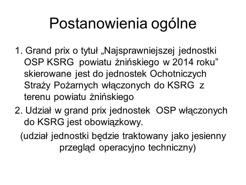 """Postanowienia ogólne 1. Grand prix o tytuł """"Najsprawniejszej jednostki OSP KSRG powiatu żnińskiego w 2014 roku"""" skierowane jest do jednostek Ochotnicz"""
